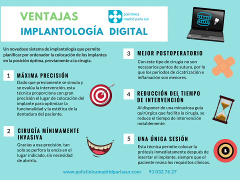 dentista parla, ventajas implantologia digital, infografia, policlinica madrid parla sur