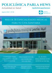 Portada revista medicina y salud Policlínica Parla News, número de agosto 2018