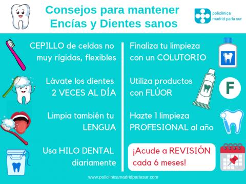 clinica dental parla, consejos para mantener dientes y encias sanos, infografia